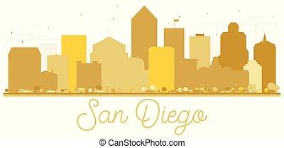 ディエゴ, san, アメリカ, 金, silhouette., スカイライン, カリフォルニア, 都市