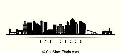 ディエゴ, san, 都市, banner., スカイライン, 横