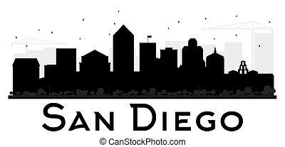 ディエゴ, san, 都市, silhouette., スカイライン, 黒, 白