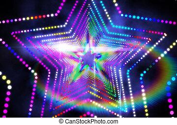ディジタル方式で生成された, 星, レーザー, 背中