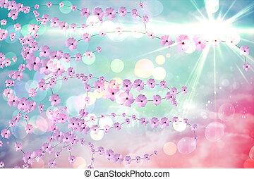 ディジタル方式で生成された, 花, 背景