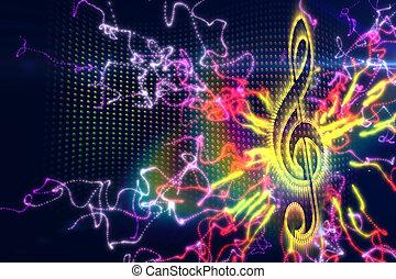 ディジタル方式で生成された, 音楽, 背景
