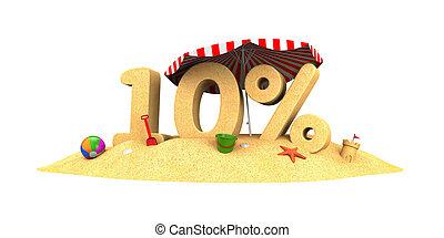 ディジット, 季節, -, セール, イラスト, 10%, sand., 3d