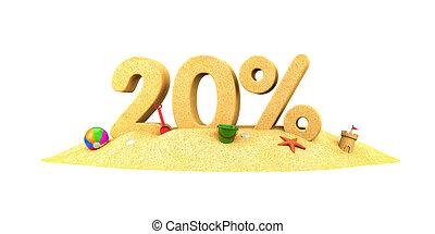 ディジット, 季節, -, セール, イラスト, 20%, sand., 3d