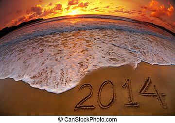 ディジット, 年, 海洋, 日没, 新しい, 2014, 浜