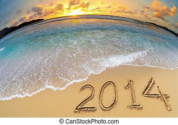 ディジット, 年, 海洋, 砂, 新しい, 2014, 浜