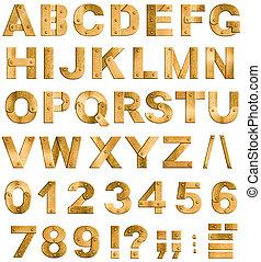 ディジット, 金, アルファベット, 句読点, 金属, 手紙, 隔離された, white., 真ちゅう, 壷, ∥...