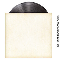 ディスク, 袖, 隔離された, レコード, ペーパー, ビニール, lp