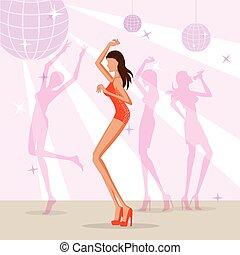 ディスコクラブ, ダンス, 女, 美しい