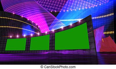 ディスコ, ステージ, の, 事実上, セット, 紫色