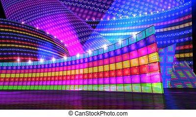 ∥, ディスコ, ステージ, セット, 虹