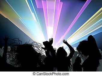 ディスコ, ライト, ダンス, 群集, ショー