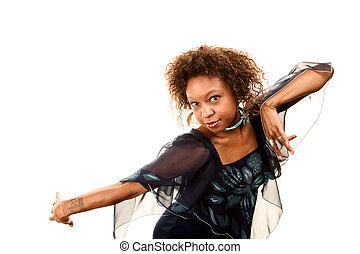 ディスコ, 女, 服, かなり, african-american