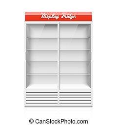 ディスプレイ, 冷蔵庫, 2, ガラスドア, 滑っている