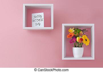 ディスプレイ, 幸せ, 日, 花, 母, 挨拶