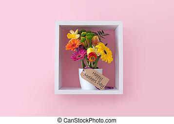 ディスプレイ, 贈り物, 日, 花, 母