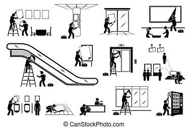 ディスプレイ, marketing., パッティング, 代理店, の上, 屋内, 広告