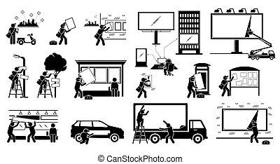 ディスプレイ, marketing., パッティング, 代理店, の上, 広告, 屋外
