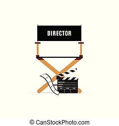 ディレクター, 映画, 椅子, イラスト, アイコン