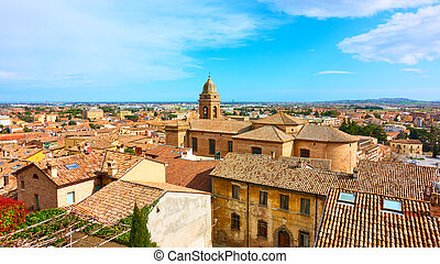 ∥ディ∥, 古い, パノラマである, romagna, 光景, イタリア語, 町, santarcangelo