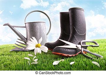 デイジー, 缶, 水まき, 草, ブーツ