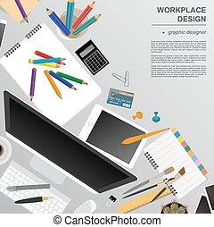 デザイナー, グラフィック, ワークスペース