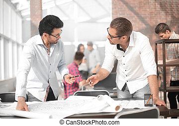 デザイナー, グループ, 労働者のオフィス, 創造的