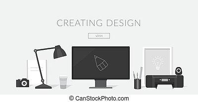 デザイナー, 仕事場, illustrator.