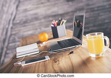 デザイナー, 側, 机