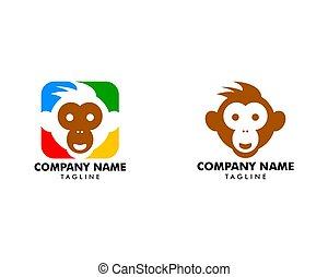 デザインを設定しなさい, サル, テンプレート, ベクトル, ロゴ, イラスト