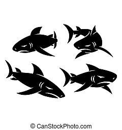デザインを設定しなさい, シンボル, サメ, ロゴ, ベクトル, テンプレート, イラスト