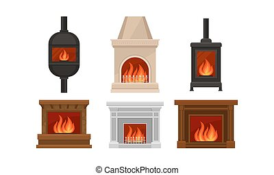 デザインを設定しなさい, 別, 形, ベクトル, 暖炉, イラスト
