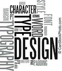 デザイン, そして, 活版印刷, 背景