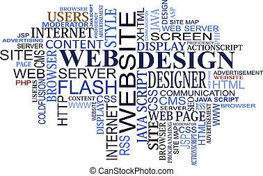 デザイン, そして, 網, タグ, 雲