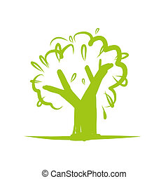 デザイン, アイコン, 木, 緑, あなたの
