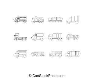デザイン, アイコン, 隔離された, トラック, セット, ベクトル