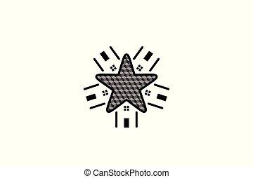 デザイン, アパート, 星, 隔離された, 家, 背景, ロゴ, 白, 家, インスピレーシヨン