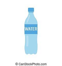 デザイン, イラスト, -, びん, 単純である, 平ら, 水, ベクトル
