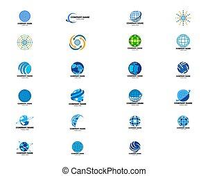 デザイン, イラスト, アイコン, セット, ロゴ, ベクトル, テンプレート, 地球