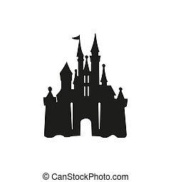 デザイン, イラスト, -, 城, テンプレート, アイコン, ロゴ, ベクトル