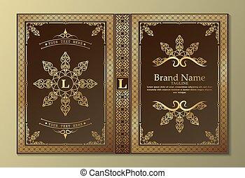 デザイン, カバー, 装飾用, 本, 贅沢