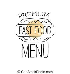デザイン, カフェ, 優れた, 食物, メニュー, 犬, 速い, 印, 単純である, 暑い, ベクトル, 通り, イラスト, の上, 引かれる, 昇進, 手, 品質, 光景