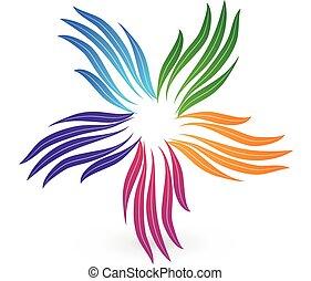 デザイン, カラフルである, イメージ, 定型, ベクトル, チームワーク, 手, ロゴ