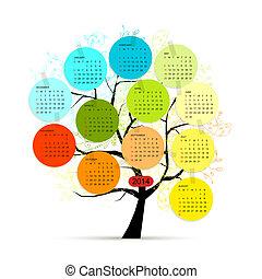 デザイン, カレンダー, 木, あなたの, 2014