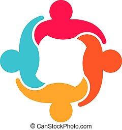 デザイン, グループ, 人々, チームワーク, 協力, ロゴ