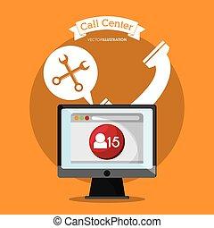 デザイン, コンピュータ, 呼出し 中心, 道具