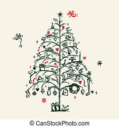 デザイン, スケッチ, 木, あなたの, クリスマス