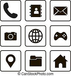 デザイン, セット, アイコン, ベクトル, シンボル, ウェブサイト