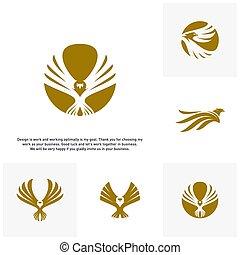 デザイン, セット, ベクトル, ロゴ, ワシ, テンプレート