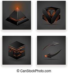 デザイン, セット, 抽象的, ピラミッド, イラスト, 白熱, ベクトル, 広場, 矢, 数字, 幾何学的